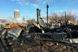 A GoFundMe account has been created to provide Bruce and Vicki Geiger with financial assistance, after a fire destroyed their barn and shop. Sigel Township Fire Chief Joel Kiehl estimated the total damage to be $350,000. (Vicki Geiger/Courtesy Photo)