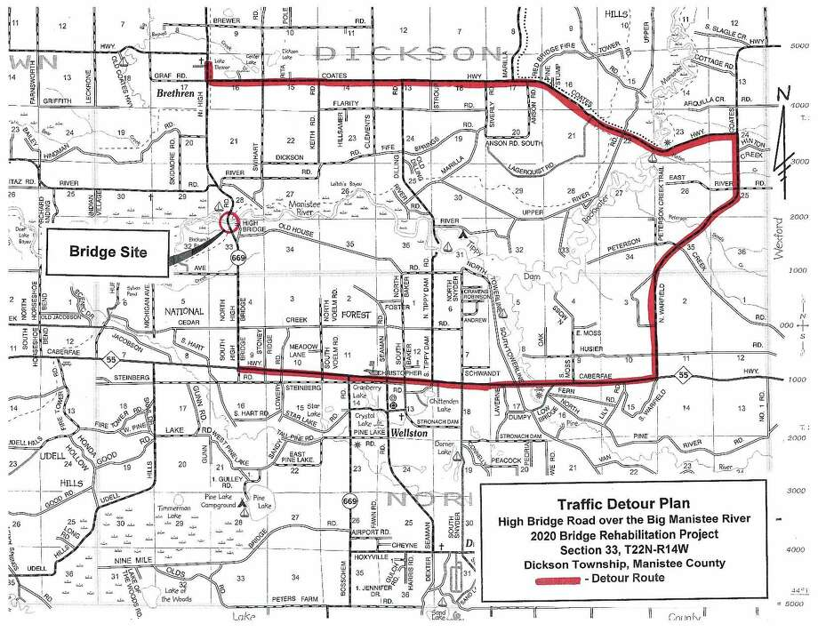 The Manistee County Road Commission released this map detailing traffic detours during construction projects planned for High Bridge and High Bridge Road starting next week. (Courtesy Map)