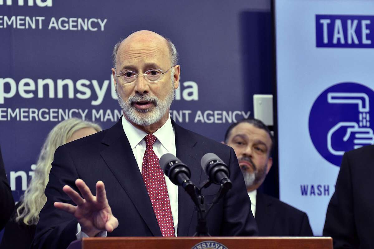 FILE - In this March 12, 2020, file photo, Gov. Tom Wolf of Pennsylvania speaks at a news conference at Pennsylvania Emergency Management Headquarters in Harrisburg, Pa.