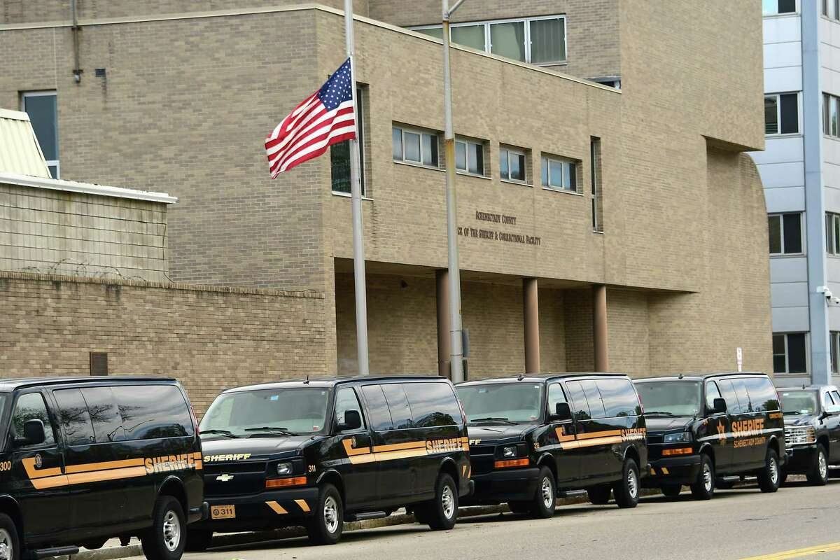 Schenectady County Sheriff vans are seen outside the Schenectady County jail on Thursday, May 14, 2020 in Schenectady, N.Y. (Lori Van Buren/Times Union)