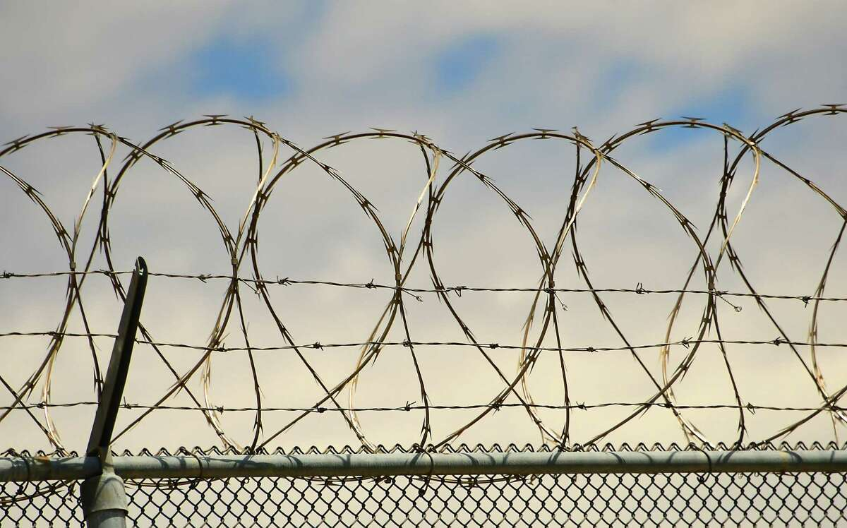 Razor wire and barbed wire are seen surrounding the rear of the Schenectady County jail on Thursday, May 14, 2020 in Schenectady, N.Y. (Lori Van Buren/Times Union)
