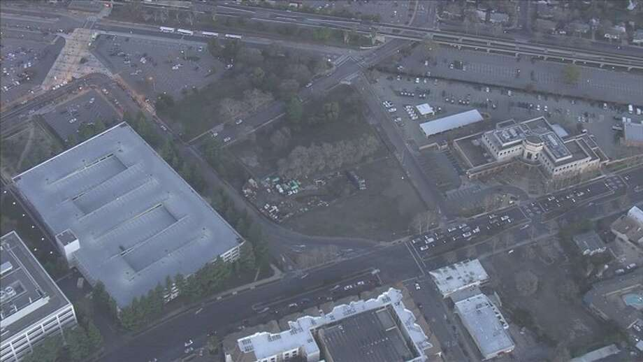 USL East Bay proposed building an 18,000 seat stadium on this property near the Concord BART station. Photo: KTVU