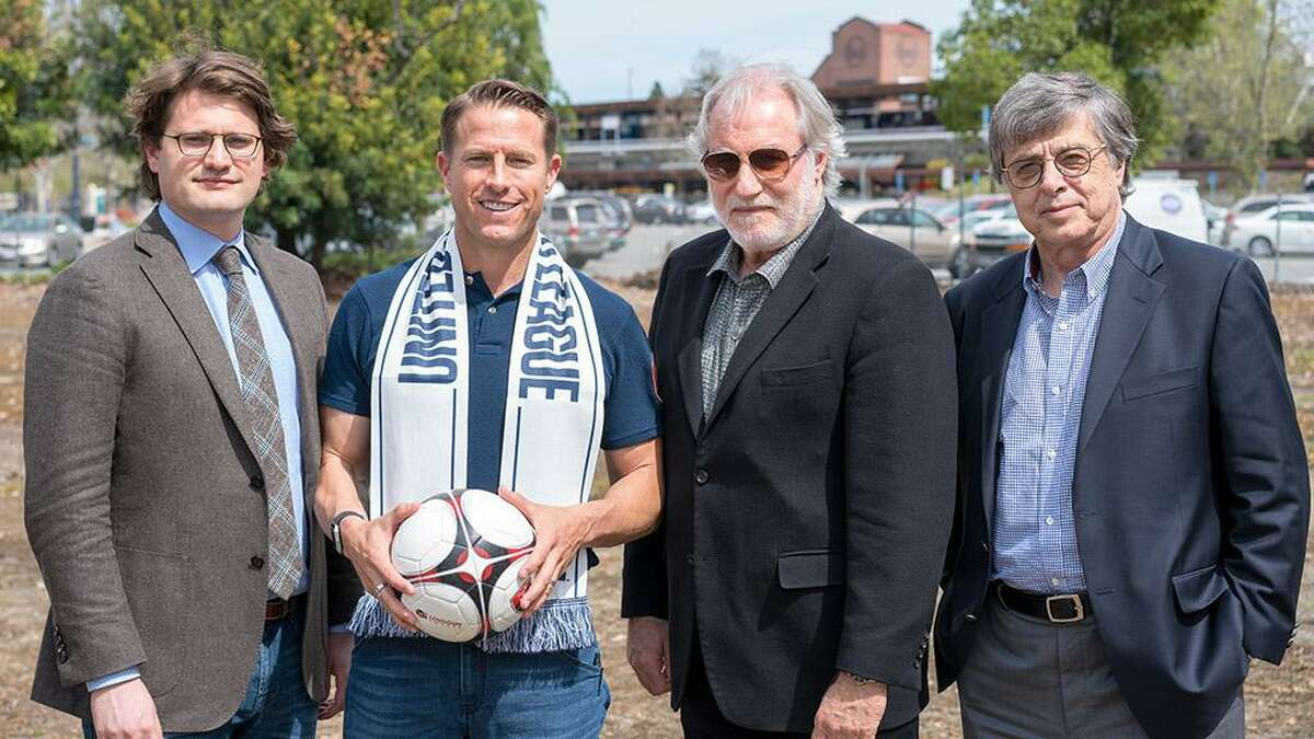 USL Chief Operating Officer Justin Papadakis, Former USL East Bay Sporting Director Andy McDermott, Hall Sports Ventures' Chief Executive Officer Mark Hall and USL Chief Executive Officer Alec Papadakis in 2018.