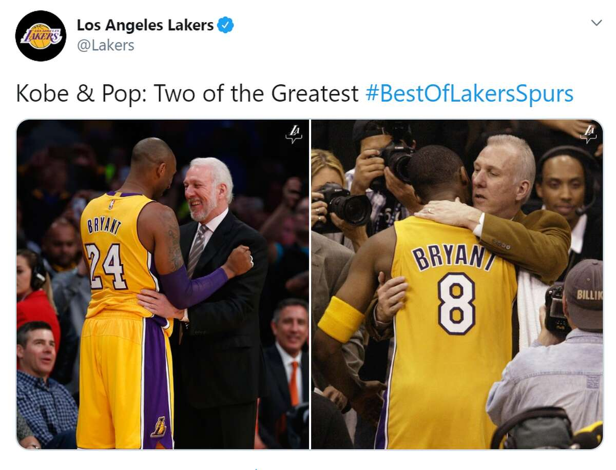 Side by side photos show two of the best in basketball history: the late Kobe Bryant and Spurs head coach Gregg Popovich.