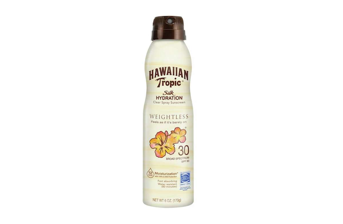 Hawaiian Tropic Silk Hydration Weightless Sunscreen Spray, $8.92Looking for a sunscreen spray that is under $10 and won't get your hands all gross and sticky? Hawaiian Tropic Silk Hydration Weightless Sunscreen Spray does actually feel weightless on your skin and smells nice. Plus, you get the added benefit of this moisturizing your skin while you're baking under the sun.
