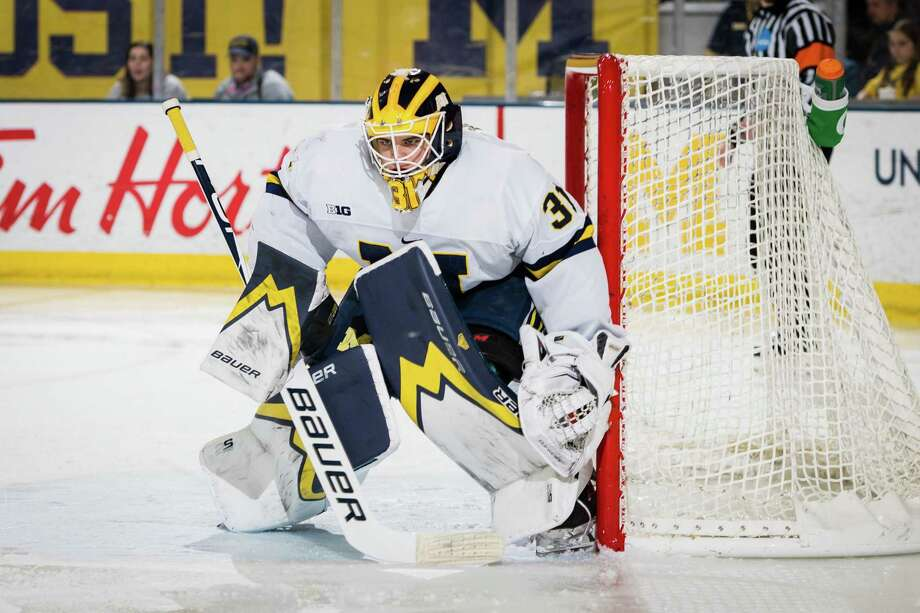 Strauss Mann, a 2017 Brunswick School graduate, who plays ice hockey at Michigan, was named as the Big Ten Goaltender of the Year. Photo: Photo Courtesy Of Michigan Photography