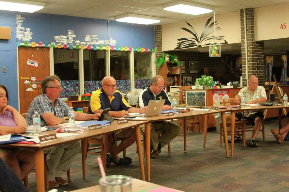 The Manistee Area Public Schools Board of Education is shown in this photograph from an earlier meeting before the COVID-19 Pandemic hit. MAPS officials held their third straight virtual meeting this week. (File photo)