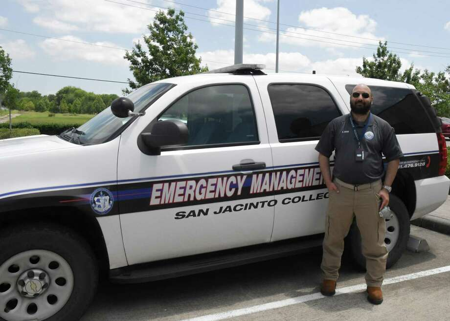 Ali Shah, manager in San Jacinto College's emergency management office, is among staff members guiding plans for the college as it plans for the summer and fall terms. The first summer session will consist of online learning. Photo: San Jacinto College