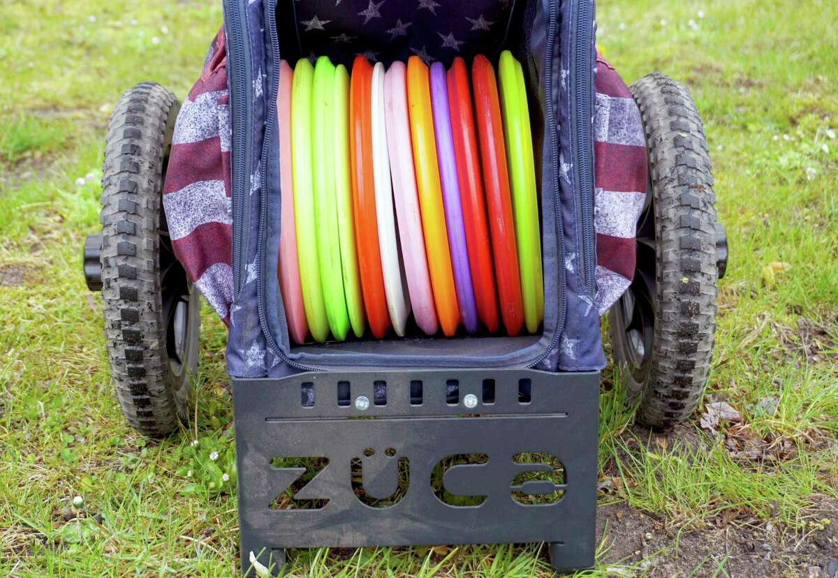 An assortment of throwing discs, all with their own purpose, inside of Daniels' drag cart. (Pioneer photo/Joe Judd)
