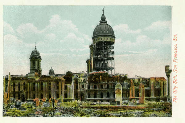 San Francisco earthquake of April 18th, 1906. The city hall, pictured, was almost entirely destroyed.