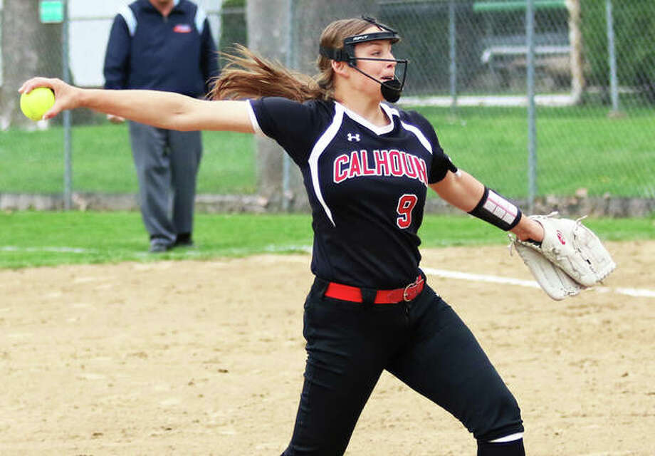 Calhoun pitcher Sydney Baalman works to the plate during a game last season at Carrollton. The 2019 Telegraph Small-Schools Softball Player of the Year saw her shot at a return trip to the state tourney taken away with the cancellation of spring sports in Illinois. Photo: Greg Shashack / The Telegraph