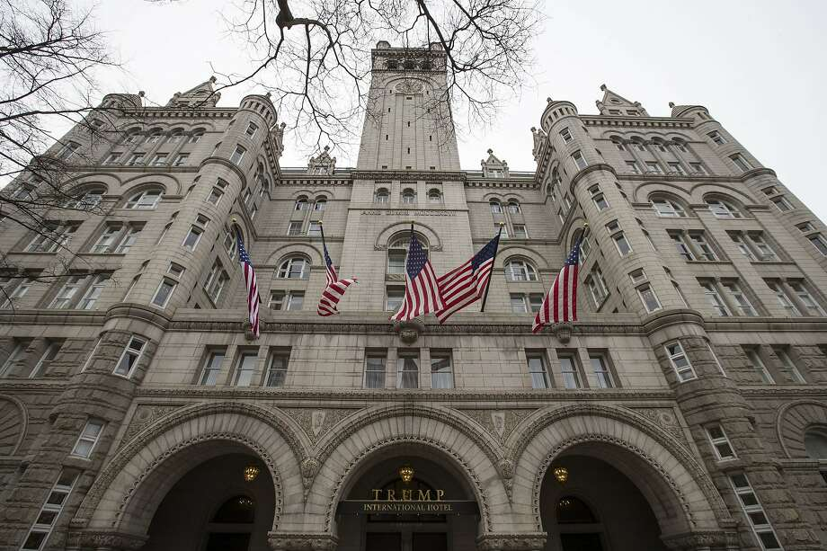 FILE - In this Jan. 4, 2019 file photo, the Trump International Hotel, is shown in Washington. A federal appeals court has revived a lawsuit accusing President Donald Trump of illegally profiting off the presidency through his luxury Washington hotel. The lawsuit brought by the state of Maryland and the District of Columbia claims Trump has violated the emoluments clause of the Constitution by accepting profits through foreign and domestic officials who stay at the Trump International Hotel.  (AP Photo/Alex Brandon, File) Photo: Alex Brandon, Associated Press