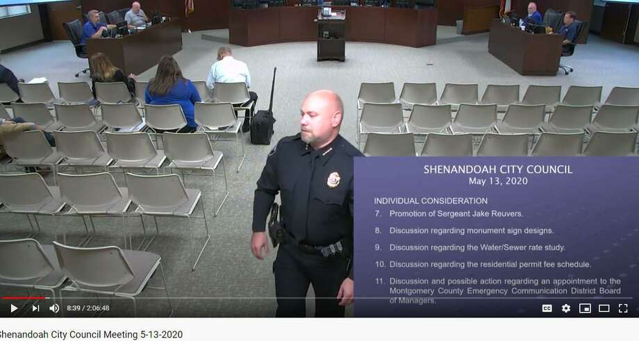 Shenandoah interim Police Chief Troye Dunlap, shown in this YouTube screenshot from the May 13 City Council meeting, denied claims he misused a tuition reimbursment program made by the sister of former police chief Raymond Shaw. An investigation by The Villager revealed the city of Shenandoah has reimbursed a small group of current and former employees almost $70,000 in tuition and textbooks as part of the city's efforts to provide continuing education to various employees. Dunlap was one of 11 employees who were repaid for tuition costs. Photo: Images Courtesy City Of Shenandoah YouTube Page / Images Courtesy City Of Shenandoah YouTube Page