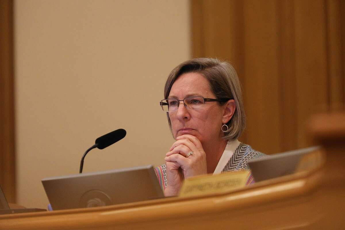 Cheryl Brinkman, Chairman of the Board, SFMTA Board of Directors, listens to speakers during a special vote during a SFMTA Board of Directors meeting in Room 400 at City Hall on Tuesday, October 16, 2018 in San Francisco, Calif.