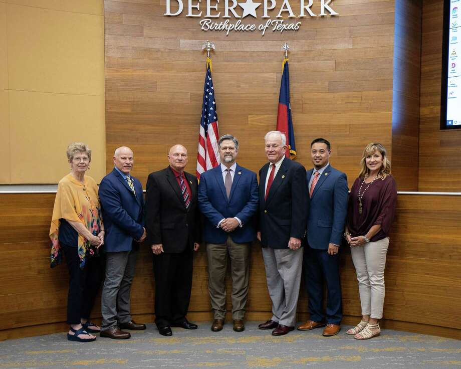 Deer Park City Council has been named City Council of the Year by Texas City Management Association. From left are council members Sherry Garrison, T.J. Haight, Tommy Ginn, Mayor Jerry Mouton Jr., Bill Patterson, Ron Martin and Rae A. Sinor.