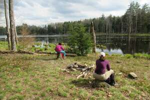 An old campsite sits on the shore of a beaver pond at Lincoln Mountain State Forest in Saratoga County. A planned trail that will stretch from Saratoga Spa State Park north to Moreau Lake State Park will run through natural areas like Lincoln Mountain. (Herb Terns / Times Union)