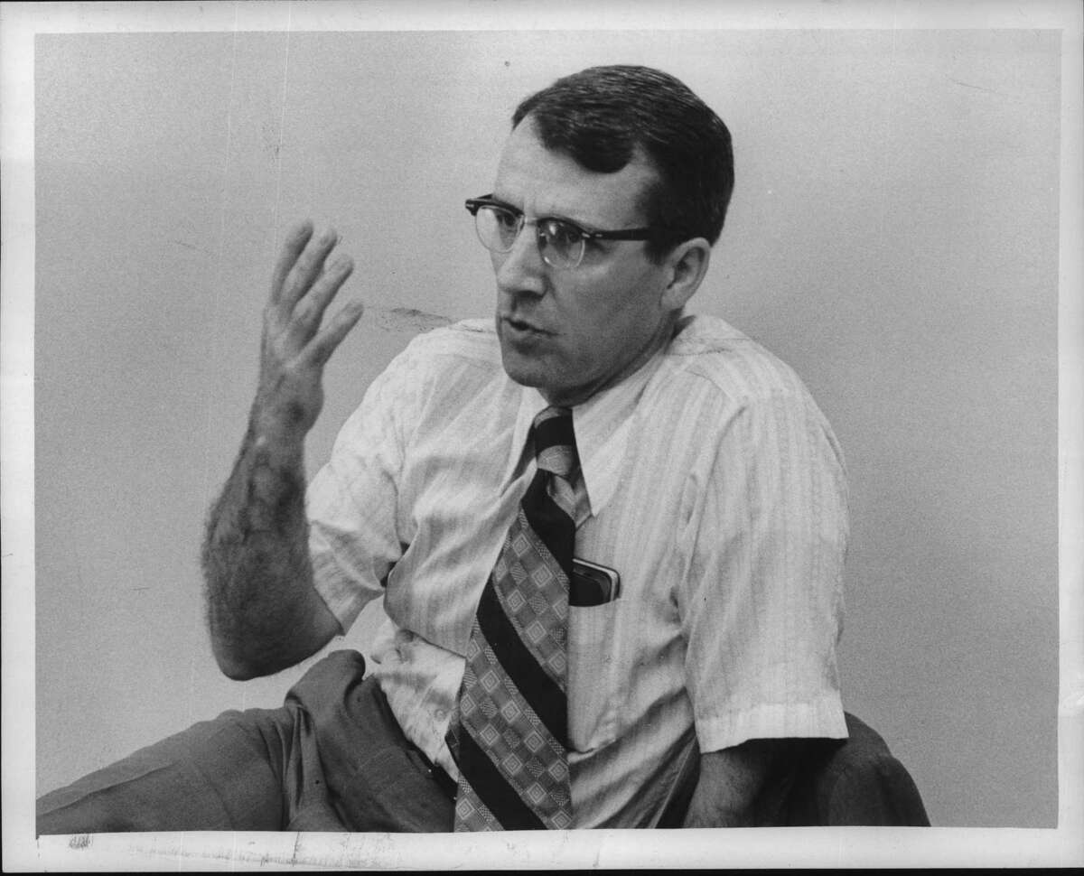 Professor Francis Anderson, Albany Law School, New York, discussing reorganization of American Civil Liberties Union. August 1973 (Bob Wilder/Times Union Archive)