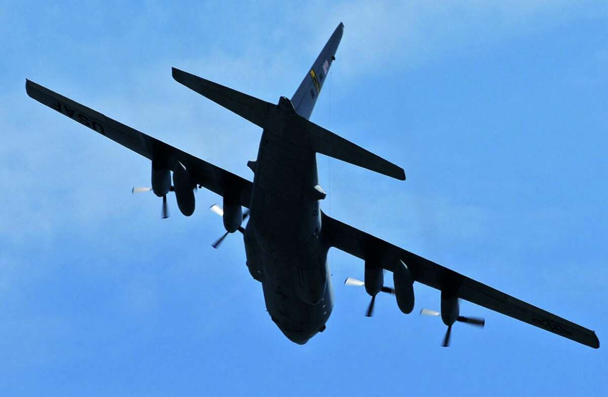 A Connecticut National Guard C-130 performs a flyover salute for healthcare workers on Thursday at Norwalk Hospital in Norwalk. The 103rd Airlift Wing's Flying Yankees flew over hospitals and healthcare facilities throughout the state Thursday.