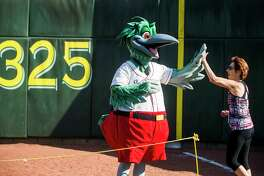 Lou E. Loon high-fives a participant in the Great Lakes Loons Pennant Race last August at Dow Diamond. (Katy Kildee/kkildee@mdn.net)