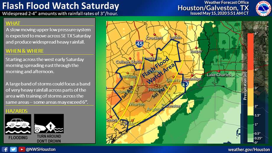 A flash flood watch is in effect for much of the Houston area through Saturday, May 16, 2020. Photo: National Weather Service