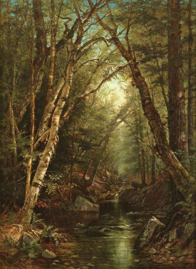 "Mary Josephine Walters (1837?1883) ""Forest Interior"" Oil on canvas, 8 x 6 in. Collection of Nicholas V. Bulzacchelli"
