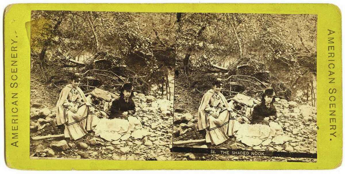 """""""The Shaded Nook,"""" 19th century Stereo view, 3 1/2 x 7 in. Courtesy of the American Antiquarian Society, Worcester, Mass."""