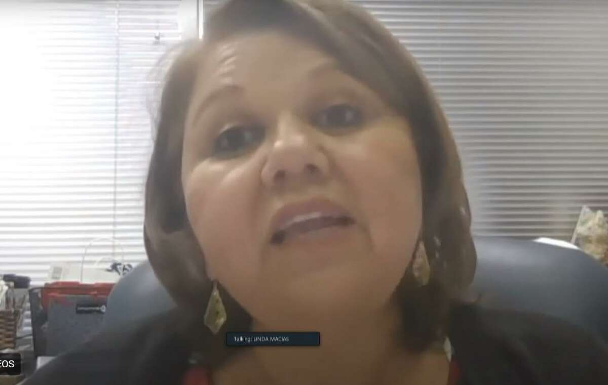 Cy-Fair ISD Chief Academic Officer Linda Macias talks to the board of trustees during an online school board meeting on May 11, 2020.