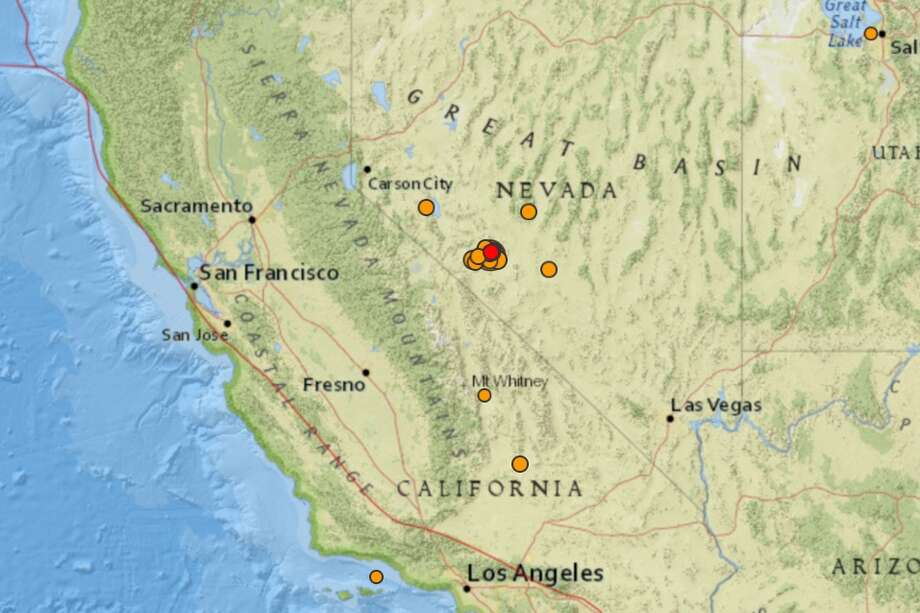 A magnitude-6.5 earthquake rocked remote western Nevada Friday morning, about 126 miles southeast of Lake Tahoe, and according to the United State Geologic Surveywas widely felt all the way from Los Angeles to Portland, Ore., to Salt Lake City. Photo: USGS