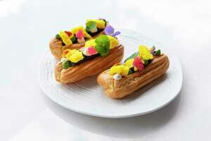 Musaafer, a luxurious new Indian restaurant, opens May 18 at the Galleria, 5115 Westheimer. Shown: Mushroom Galouti Eclair.