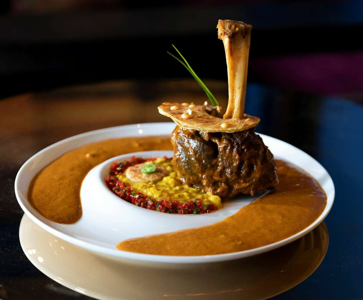 Musaafer: The new Galleria restaurant opens Monday, May 18. The kitchen will serve traditional and modern plates of fare with unique flavors and presentations from India's 29 states like pani puri and nali nihari (lamb shank; pictured) served over saffron cauliflower risotto. Hours are Sunday through Thursday from 5 to 10 p.m. and Friday and Saturday from 5 to 11 p.m. 5115 Westheimer Rd. at Galleria VI, 713-242-8087, https://www.musaaferhouston.com/