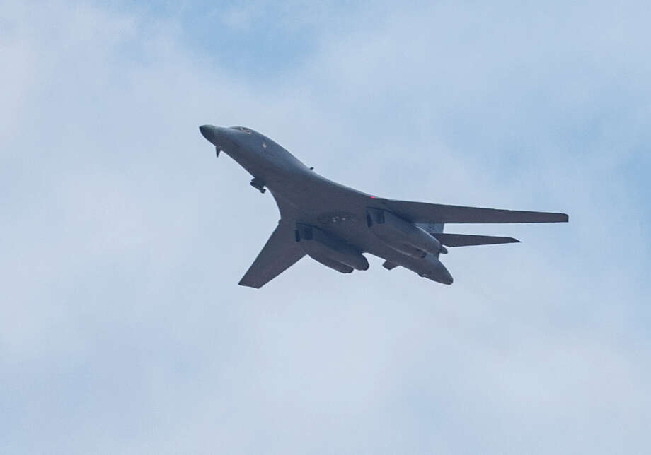 A B1B Lancer out of Dyess Air Force Base flies over Midland Memorial Hospital 05/15/2020 as a salute to medical professionals, first responders and others. Tim Fischer/Reporter-Telegram Photo: Tim Fischer/Midland Reporter-Telegram