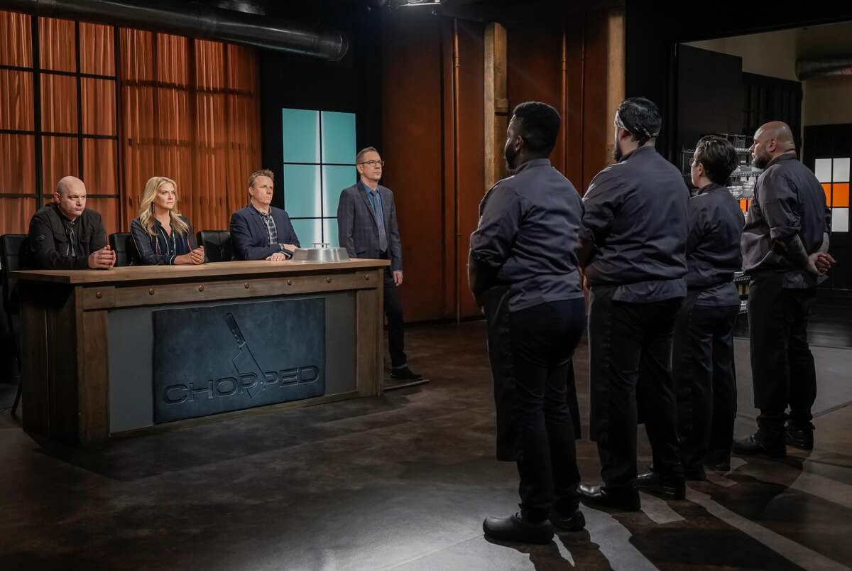 """All four chefs in front of judges, as seen on the """"High on the Hog"""" episode of """"Chopped,"""" season 45."""
