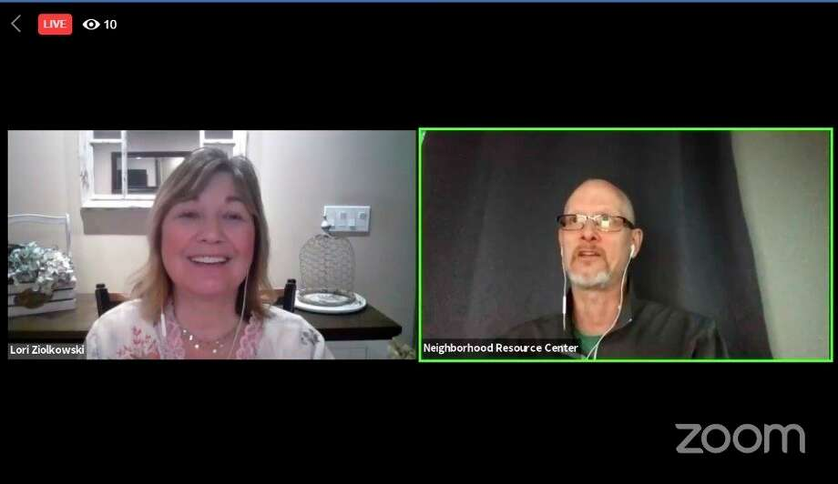Lori Ziolkowski, regional coordinator for Families Against Narcotics Great Lakes Bay Region and Barry Schmidt, director of Neighborhood Resource Center hosteda forum discussionvia Zoom and Facebook Live on Thursday, May 14, 2020. (Screen photo)