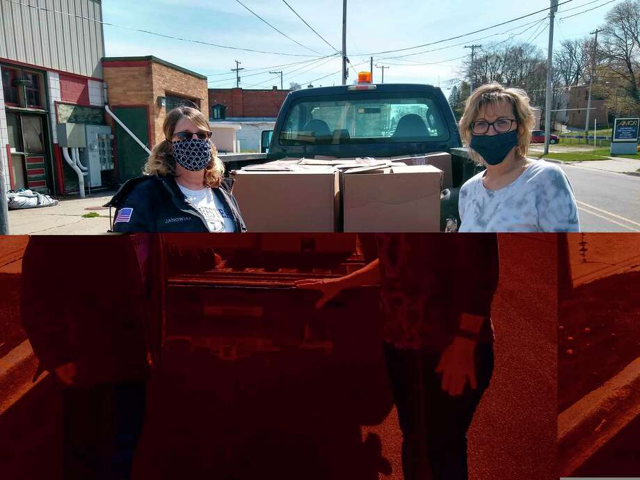 The Oaks Correctional Facility donated 300 pounds of food for the food bank at the senior center. (Courtesy Photo)
