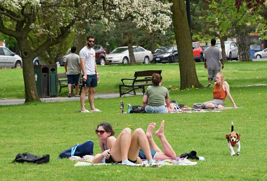 People enjoy Washington Park on Friday, May 15, 2020 in Albany, N.Y.(Lori Van Buren/Times Union)