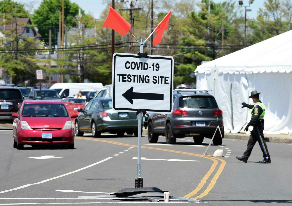 Ridgefield is offering drive through COVID-19 testing Saturday, May 16, from 11 to 3 at the town Recreation Center. The town asks people to preregister. The New Haven testing site shown here on Thursday, May 14, was operated by CVS Health.