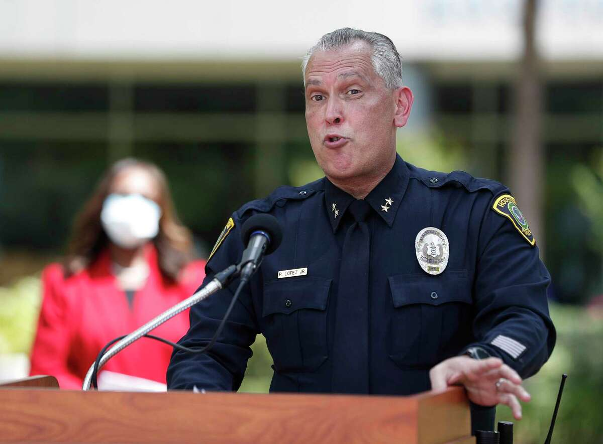 Houston ISD Police Chief Pedro Lopez Jr., who was hired this month to run the department, speaks to the media during a press conference Friday in front of the Hattie Mae White Educational Support Center.