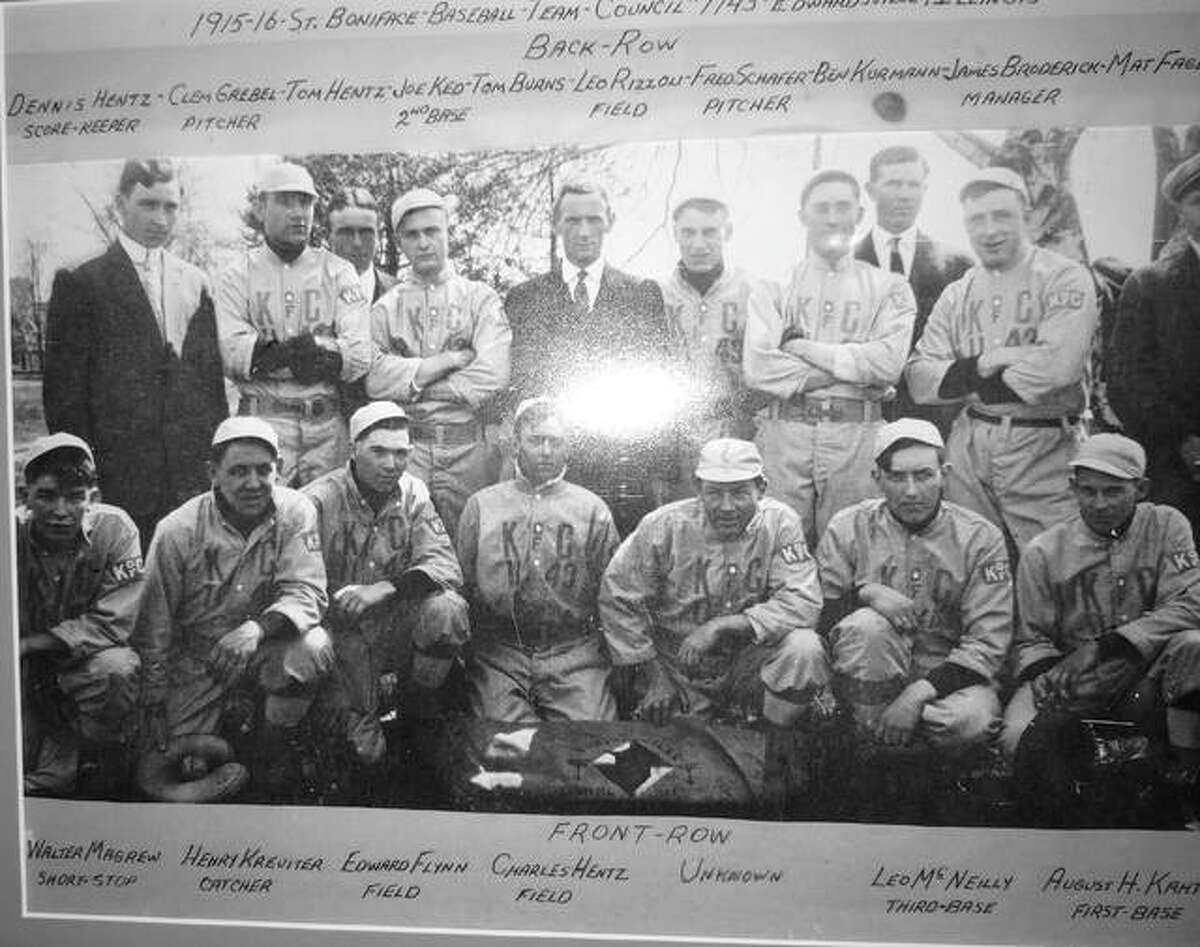 Brad Kahtz submitted a photo of 1915-16 St. Boniface Council 1143 baseball team in search of finding the name of an unknown player, pictured third from right in the front row. Pictured in the back row from left to right are scorekeeper Dennis Hentz, pitcher Clem Grebel, Tom Hentz, second baseman Joe Ked, Tom Burns, fielder Leo Rizzoli, pitcher Fred Schafer, Ben Kurmann, manager Joe Broderick and Matt Fagen. Front row from left to right are shortstop Walter Magrew, catcher Henry Kreuiter, fielder Edward Flynn, fielder Charles Hentz, an unknown player, third baseman Leo McNielly and first baseman August Kahtz. If you know who the unnmaned player is, pictured third from right in the bottom row, please e-mail sports editor Matt Kamp at mkamp@edwpub.net.