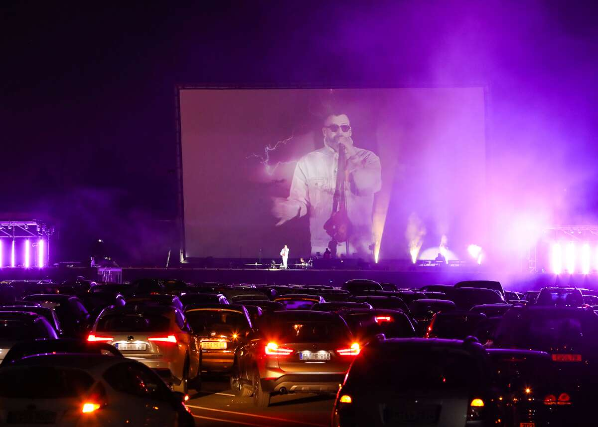 German Rapper Sido performs at the Georg Schutz drive-in cinema in Dusseldorf, Germany. Similar  to their European counterparts, the drive-in festival, which will harken the 1950s culture of New York City, will feature live music as well as drive-in movies and carside dinner services.
