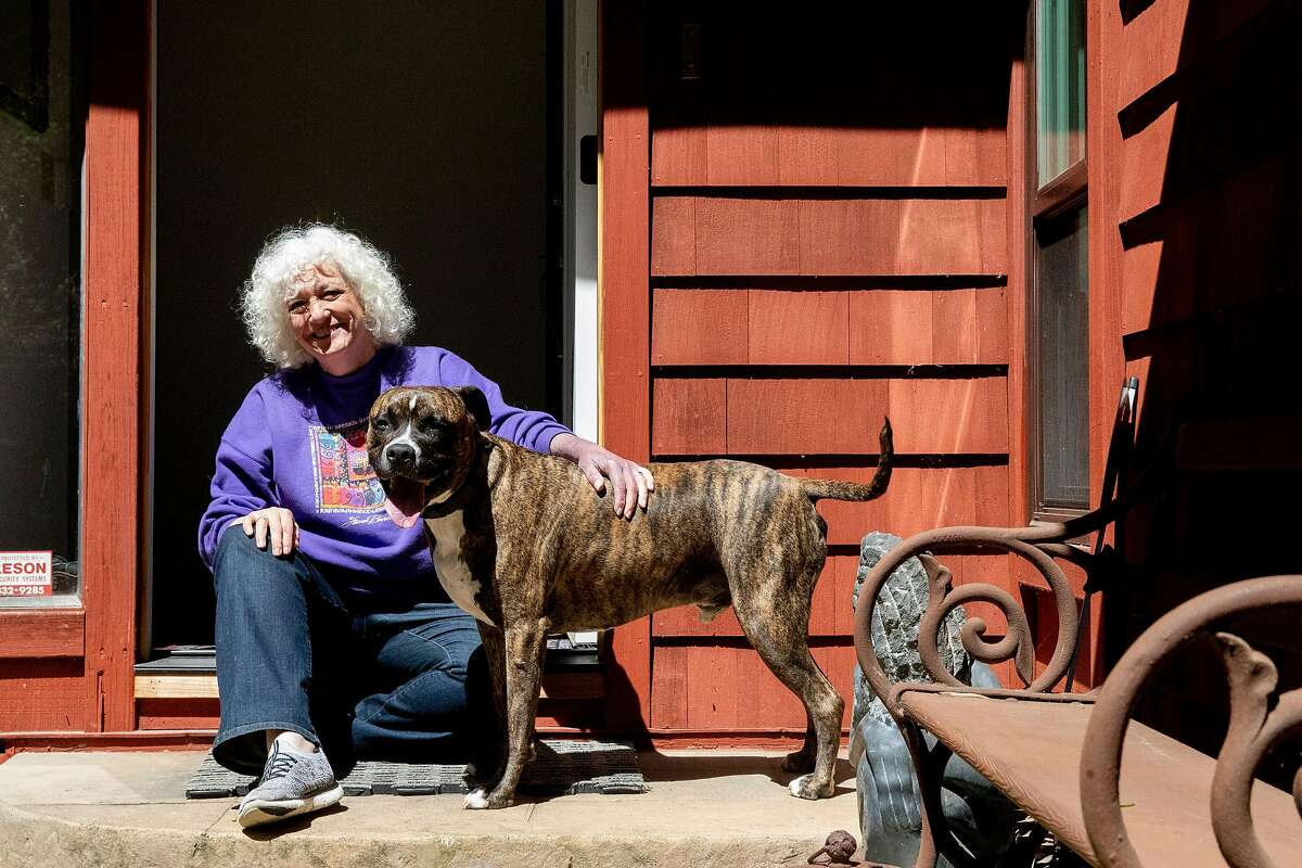 Judge Dana Leigh Marks poses for a portrait with her dog Joker at her home in Mill Valley, Calif. Wednesday, May 6, 2020. Immigrant advocates say the precise policies this administration has pursued will make it all the more difficult to get the courts back to functioning efficiently, potentially pushing hundreds of thousands of cases off for years.