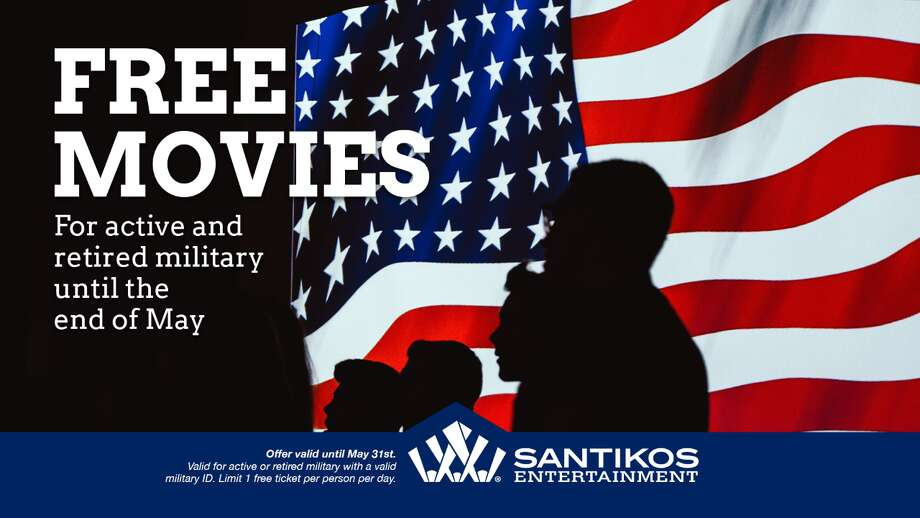 Santikos Entertainment is offering all active and retired military personnel one free movie ticket a day until May 31. Photo: Santikos Entertainment