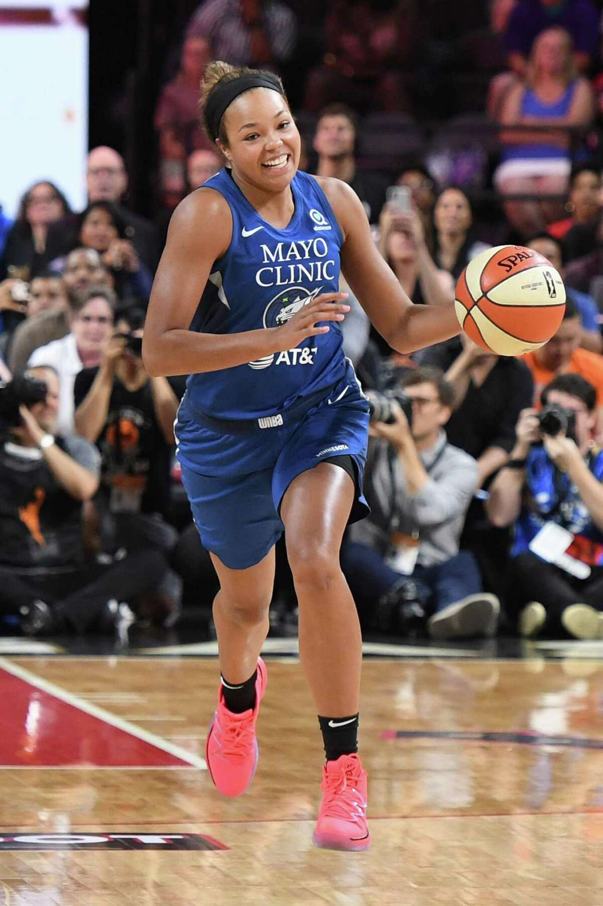 LAS VEGAS, NEVADA - JULY 26: Napheesa Collier of the Minnesota Lynx competes during the Skills Challenge of the WNBA All-Star Friday Night at the Mandalay Bay Events Center on July 26, 2019 in Las Vegas, Nevada. NOTE TO USER: User expressly acknowledges and agrees that, by downloading and or using this photograph, User is consenting to the terms and conditions of the Getty Images License Agreement. (Photo by Ethan Miller/Getty Images)