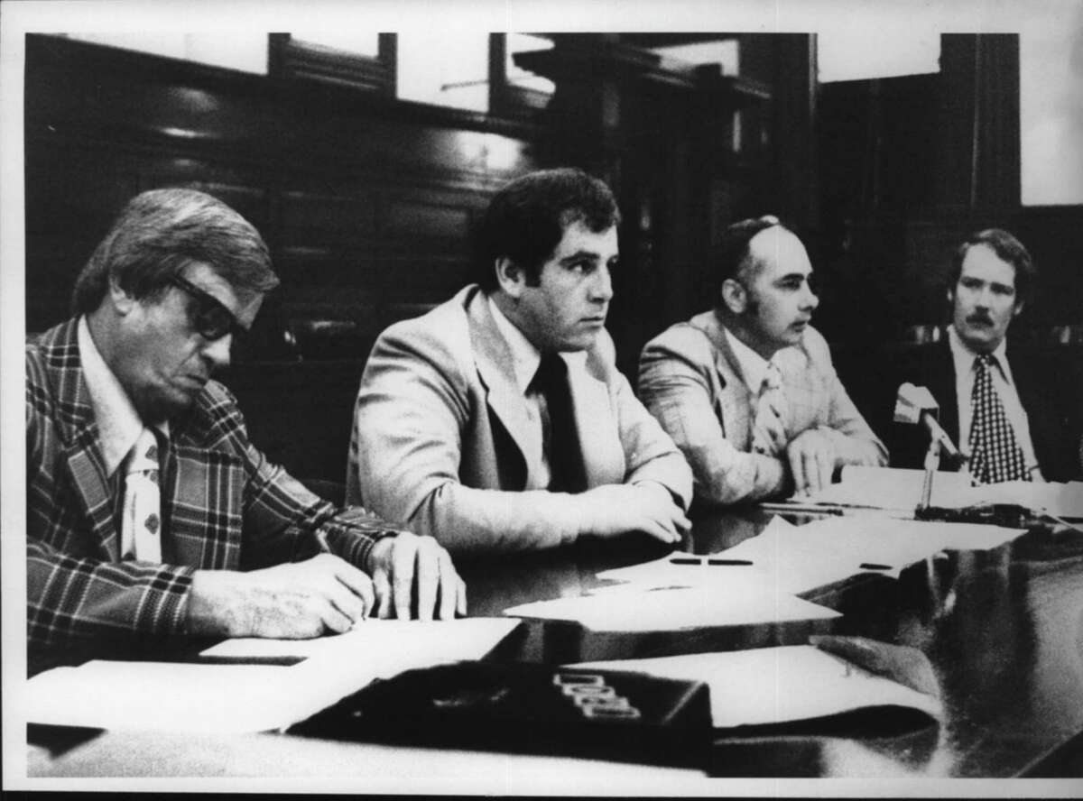 New York - Neil W. Kelleher, Host Assemblyman; Gregory Colen, New York State Department of Social Services Central Registrar; John R. Beaudoin, Commissioner of Rensselaer Department of Social Services; Arthur Hiltson, New York State Department of Social Services. August 26, 1974 (Bob Richey/Times Union Archive)