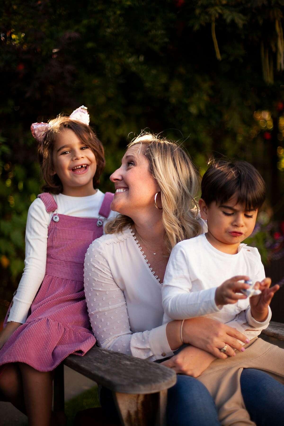 Sarahjane Sacchetti, CEO of Cleo, with her two children.