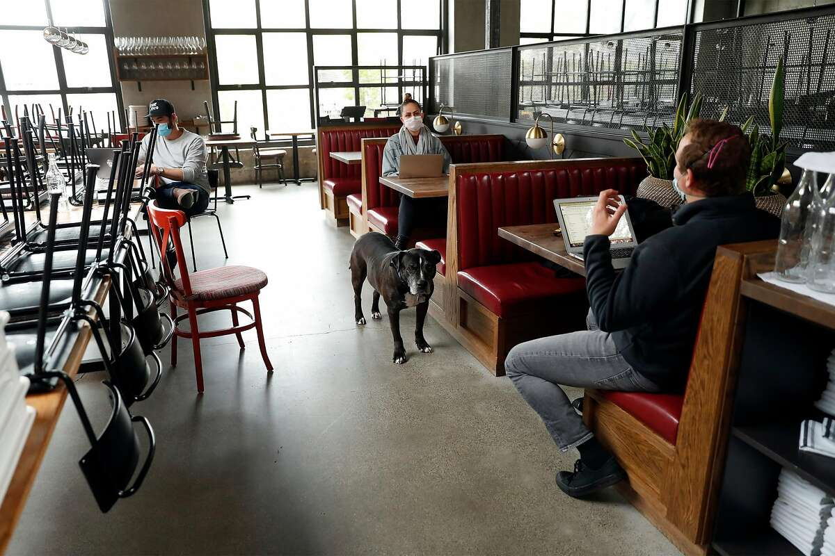 Che Fico executive chef and co-owner David Nayfeld (right), co-owner Matt Brewer (left) and general manager Bryn Barone at the restaurant in San Francisco, Calif., on Thursday, May 14, 2020. Che Fico has been closed since the start of shelter in place order and Nayfeld and Brewer have no plans on when they might reopen the restaurant.