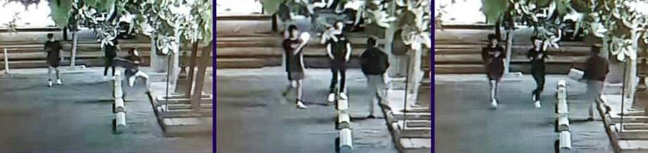 Laredo police said they are looking for these three people in connection with a criminal mischief report. To provide information, call LPD at 795-2800 and Laredo Crime Stoppers at 727-TIPS (8477). Photo: Courtesy Of The Laredo Police Department