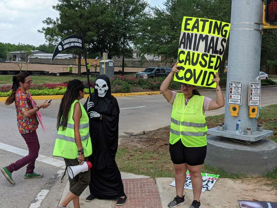 Protesters and counter-protesters stand outside Fisher Ham and Meat Co., 5023 Spring Cypress Road. Protesters were demanding the shutdown of the plant for its treatment of animals and employees during the coronavirus pandemic. Photo: Paul Wedding