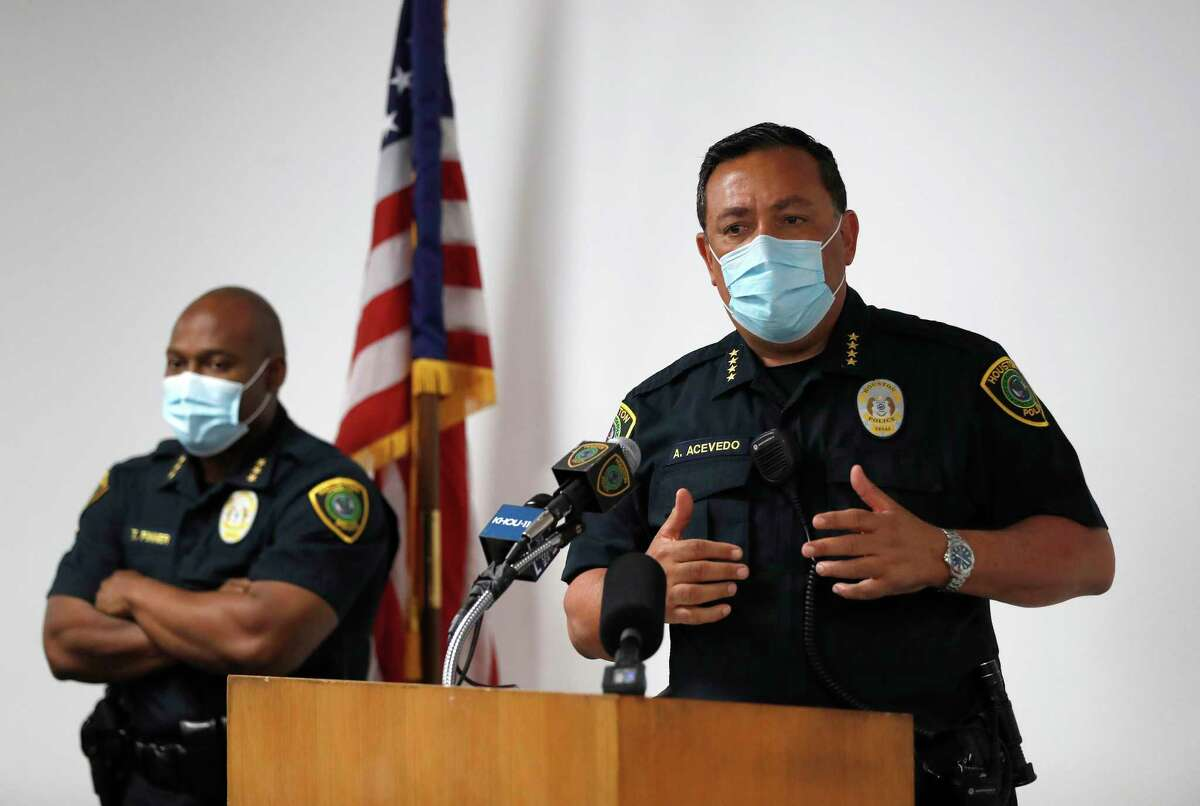 Houston Police Chief Art Acevedo holds a rendering of a Daisy BB gun, as he briefed the media about an officer-involved shooting incident at 7400 Scott Street on Thursday, at HPD headquarters, in Houston, Friday, May 15, 2020.