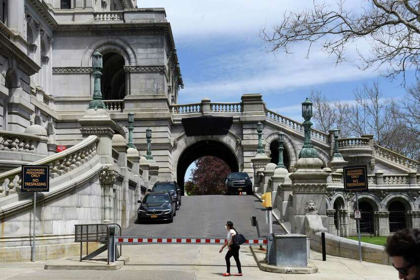View of the secured parking area entrance at the Capitol on Thursday, May, 14, 2020, in Albany, N.Y. (Will Waldron/Times Union)