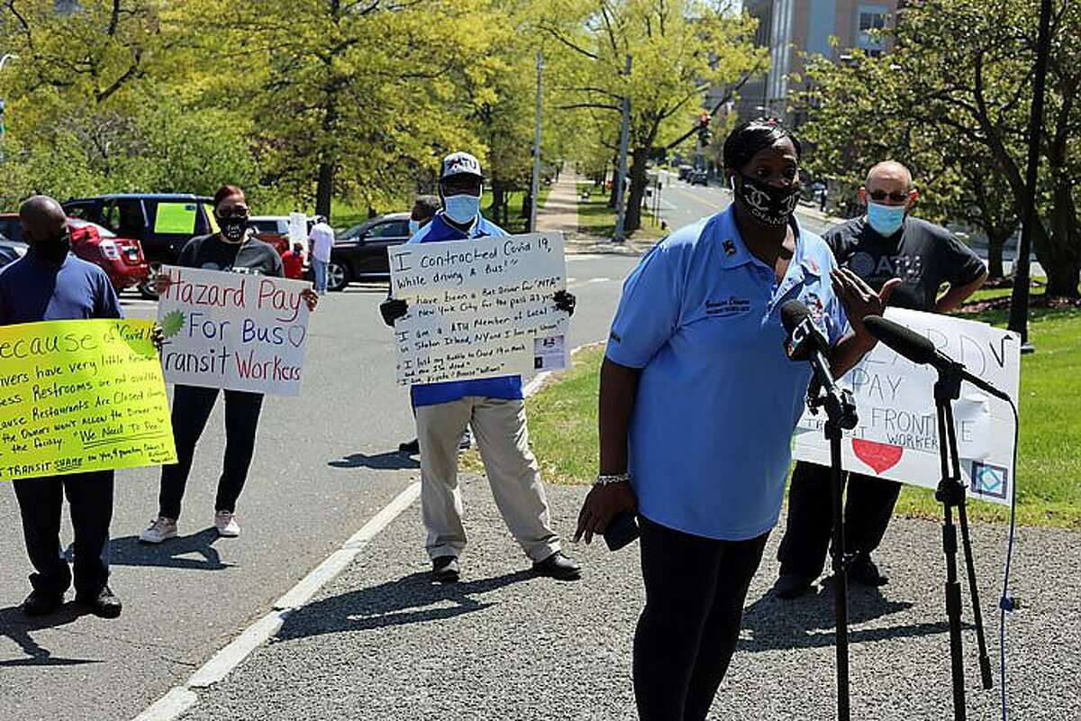 Veronica Chavers was among the bus drivers who rallied Friday in Hartford.